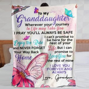 Personalized To My Granddaughter Throw Blanket Custom Name Fleece Blanket Funny Gifts